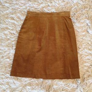 Vintage leather mustard  skirt high waisted 90's